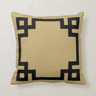 Gold and Black Greek Key Border Throw Pillow