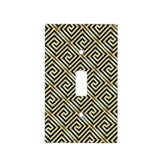 Gold and black Greek key pattern Light Switch Plate