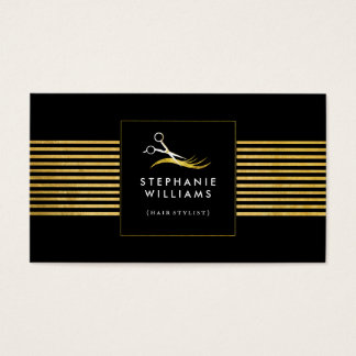 Gold and Black Hair Salon Business Card Template