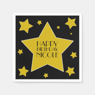 Gold And Black Hollywood Stars Birthday Paper Napkin