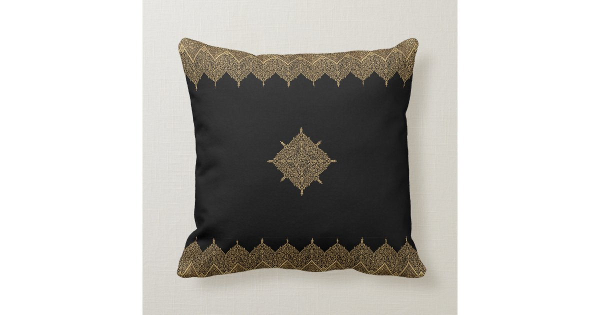 gold and black indian motif throw pillow zazzle. Black Bedroom Furniture Sets. Home Design Ideas