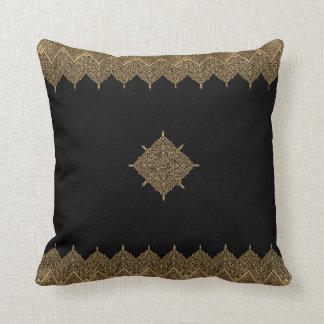 Gold and Black Indian Motif Throw Pillow