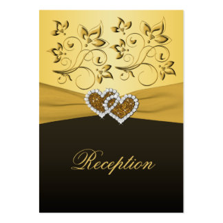 Gold and Black Joined Hearts Reception Card Business Cards