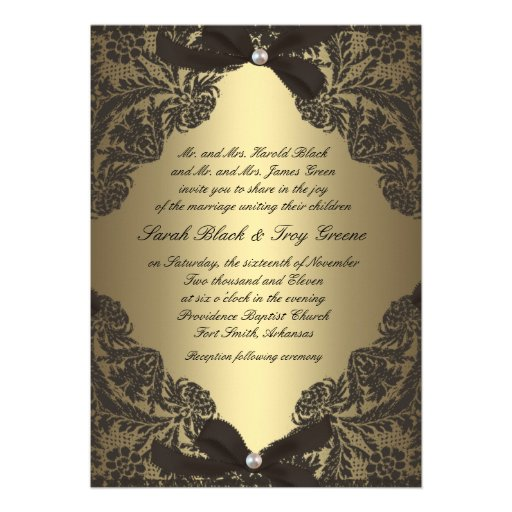 Gold and Black Lace wedding invitation