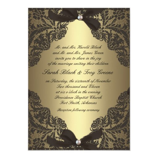 black and gold wedding invitations gold and black lace wedding invitation zazzle 1803