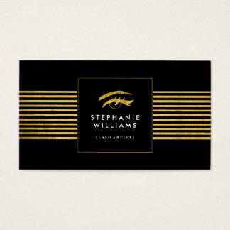 Gold and Black Lash Artist Business Card Template