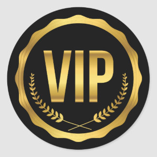 Gold and Black Laurel VIP Party Pass Classic Round Sticker