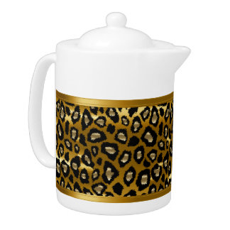 Gold and Black Leopard Animal Pattern Teapot