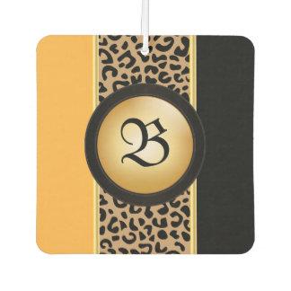 Gold and Black Leopard Animal Print | Monogram Air Freshener