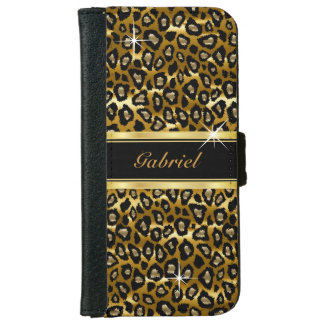 Gold and Black Leopard Animal Print Wallet Phone Case For iPhone 6/6s