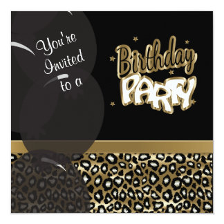 Gold and Black Leopard Birthday Party Card