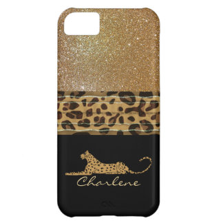Gold and Black Leopard Custom iPhone 5C Case