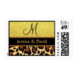 Gold and Black Leopard Print Monogram Wedding Postage Stamps