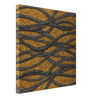 Gold and Black Lines Canvas Print