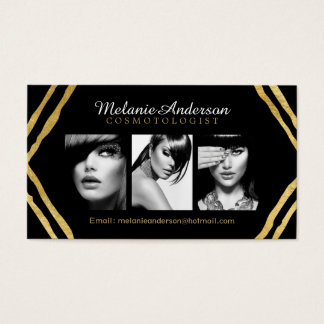 Gold and Black Makeup Artist Business Cards