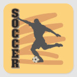 Gold and Black Male Soccer Player T shirts Stickers