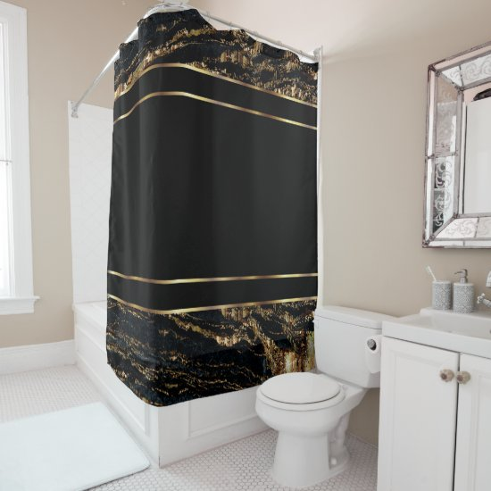 Gold and Black Marble Design Shower Curtain