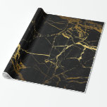 Gold And Black Marble Gift Wrap at Zazzle