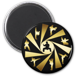 GOLD AND BLACK MARTIAL ARTS 2 INCH ROUND MAGNET