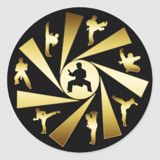 GOLD AND BLACK MARTIAL ARTS CLASSIC ROUND STICKER