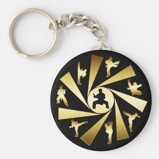 GOLD AND BLACK MARTIAL ARTS BASIC ROUND BUTTON KEYCHAIN