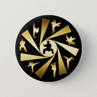 GOLD AND BLACK MARTIAL ARTS PINBACK BUTTON