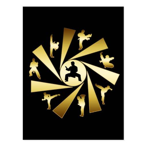 GOLD AND BLACK MARTIAL ARTS POSTCARD
