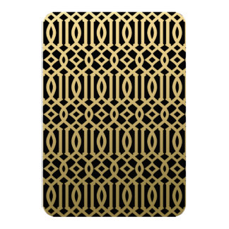 Gold and Black Modern Trellis Pattern Card