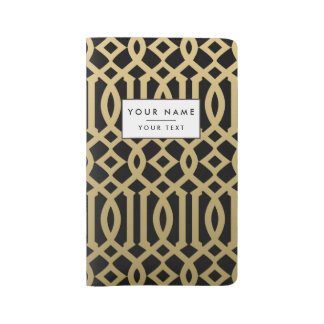 Gold and Black Modern Trellis Pattern Large Moleskine Notebook