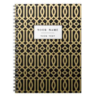 Gold and Black Modern Trellis Pattern Notebook