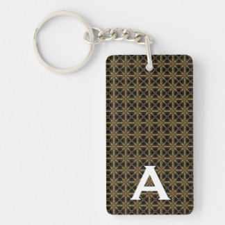 Gold and Black Monogram A Gift for Him Acrylic Key Chain