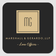 Gold and Black Monogram Business Stickers at Zazzle