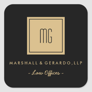 gold and black monogram business stickers - Business Card Stickers