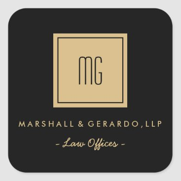 Professional Business Gold and Black Monogram Business Stickers