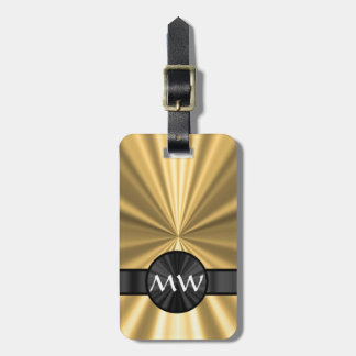 Gold and black monogrammed bag tag