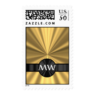 Gold and black monogrammed postage