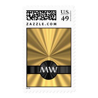 Gold and black monogrammed stamp