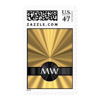 Gold and black monogrammed postage stamp