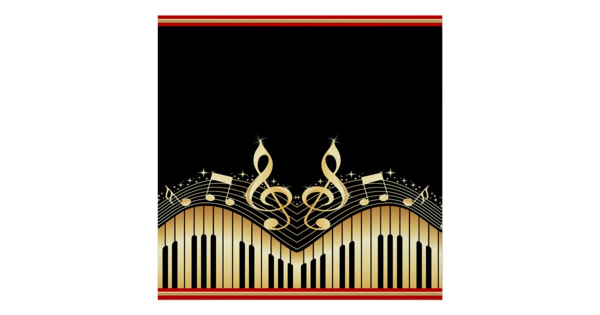Gold And Black Music Notes Black Background Poster Zazzle Com