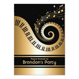 """Gold and black Music Notes Invitations 5"""" X 7"""" Invitation Card"""