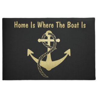 Gold and Black Nautical Doormat