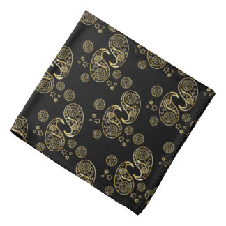 Gold and Black Paisley Design Bandana