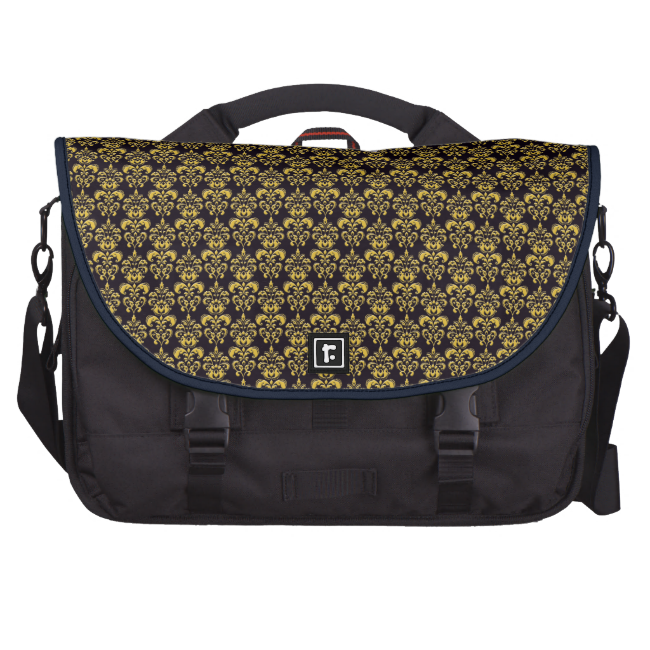 Gold and Black Pattern Computer Laptop Bag