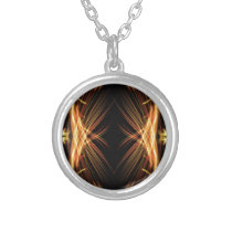 Gold and Black Patterned Design Silver Plated Necklace