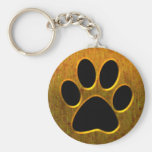 GOLD AND BLACK PAW PRINT KEY CHAINS