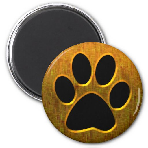 GOLD AND BLACK PAW PRINT MAGNET
