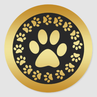 GOLD AND BLACK PAW PRINTS CLASSIC ROUND STICKER