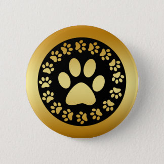GOLD AND BLACK PAW PRINTS PINBACK BUTTON