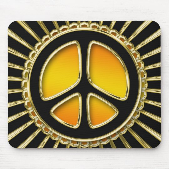 Gold and Black Peace Sign Mouse Pad