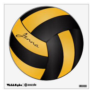 Gold and Black Personalize Volleyball Wall Skin